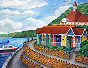 Ronald Haber Framed Prints - Beach Huts - Scarborough Framed Print by Ronald Haber