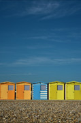 Seaford Photos - Beach huts at seaford by Heiko Koehrer-Wagner