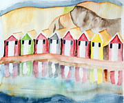 Beach Huts Framed Prints - Beach huts Framed Print by Eva Ason