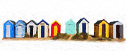 Library Digital Art - Beach Huts by Martin  Fry