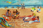 Beach Towel Painting Posters - Beach in August Poster by Betty Pieper