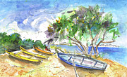 Napa Drawings Prints - Beach in Ayia Napa Print by Miki De Goodaboom