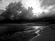Seashore Digital Art Metal Prints - Beach in Black and White Metal Print by Jeff Breiman