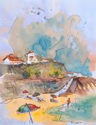 Travel Sketch Framed Prints - Beach in Ericeira in Portugal Framed Print by Miki De Goodaboom