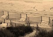 Linda Bennett Art - Beach in Sepia by Linda Bennett
