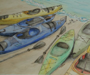 Kayak Paintings - Beach Kayaks by Sarah Tule