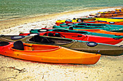 Birght Framed Prints - Beach Kayaks Framed Print by Susan Leggett