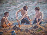 Playing Painting Originals - Beach kids by Bart DeCeglie