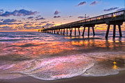Peach Prints - Beach Lace Print by Debra and Dave Vanderlaan