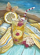 Beach Towel Prints - Beach Lemonade Print by Gina Graham