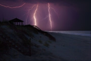 Outer Banks Photos - Beach Lighting Storm by Randy Steele