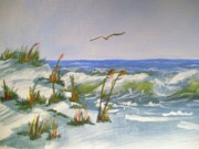Beach Bird Paintings - Beach by Meg Goff