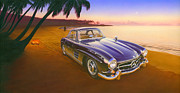 Beach Mercedes Print by Andrew Farley