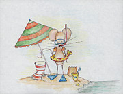 Umbrella Drawings Prints - Beach Mouse Print by Sarah LoCascio