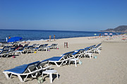 Empty Chairs Prints - Beach near Alanya Turkey Europe Print by Matthias Hauser
