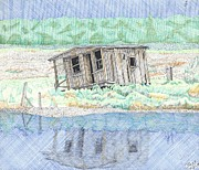 Wooden Building Drawings - Beach Old Wooden Building by Calvert Koerber