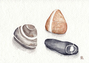 Stones Painting Originals - Beach Pebble Still Life I by Amanda Makepeace