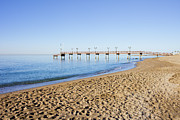 Holiday.summer Posters - Beach Pier and Sea in Marbella Poster by Artur Bogacki