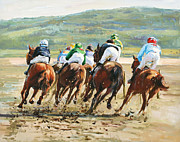 Horse Riders Prints - Beach Races Print by Conor McGuire