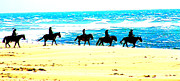 Horse And Riders Prints - Beach Riders Print by Nick Gustafson