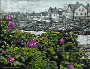 New England Ocean Mixed Media Prints - Beach Roses - Short Sands - York Maine Print by Robert Goudreau