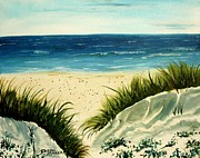 Sea Paintings - Beach Sand Dunes Acrylic Painting by Derek Mccrea