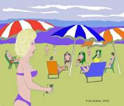 Enjoying Prints - Beach Scene  Print by Fred Jinkins