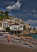 Mediterranean Metal Prints - Beach scene in Amalfi on the Amalfi Coast in Italy Metal Print by David Smith