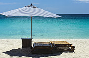 Beach Scene Photos - Beach Scene with Lounger and umbrella by Paul W Sharpe Aka Wizard of Wonders
