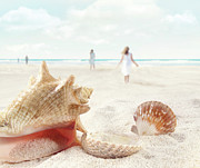Conch Prints - Beach scene with people walking and seashells Print by Sandra Cunningham