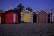 Colour Pyrography Prints - Beach Sheds Print by Nishan De Silva