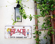 Beach Sign Framed Prints - Beach Sign I GP Framed Print by Chris Andruskiewicz