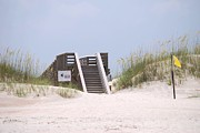 Stair-rail Framed Prints - Beach Stairs Framed Print by Judy Hall-Folde