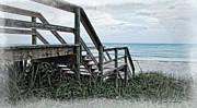 Beach Steps Print by Joan  Minchak