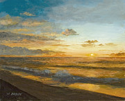 Isle Of Palms Paintings - Beach Sunrise by John Brown