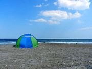 Wrightsville Prints - Beach Tent Print by Lance Vaughn