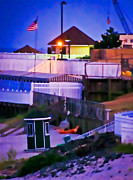 Cabanas Prints - Beach Town at Dusk Print by Colleen Kammerer