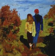 Couples Paintings - Beach Trail by Barbara Andolsek