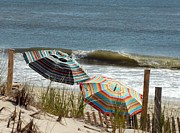 Dawn Photos Posters - Beach Umbrella 36 Poster by Joyce StJames
