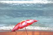 Beaches In Florida Prints - Beach Umbrella  III Print by Susanne Van Hulst