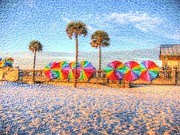 Lineup Prints - Beach Umbrella Lineup Print by Michael Garyet