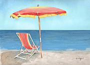 Umbrella Posters - Beach Umbrella Of Stripes Poster by Arline Wagner
