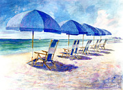 Beach Landscape Framed Prints - Beach umbrellas Framed Print by Andrew King