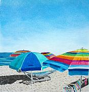 Yellow Drawings Posters - Beach Umbrellas Poster by Glenda Zuckerman