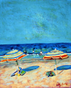 Beach Umbrellas Pastels Posters - Beach Umbrellas Poster by Hillary Gross