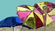 Umbrellas Digital Art - Beach Umbrellas by Jenny Chava Hudson