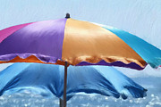 Umbrellas Digital Art - Beach Umbrellas by Susan  Lipschutz
