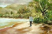 Palm Tree Greeting Cards - Beach Walk by Monica Linville