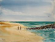 Couples Painting Prints - Beach Walk Print by Pete Maier