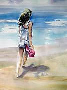 Shirley Painting Prints - Beach Walk Print by Shirley Roma Charlton